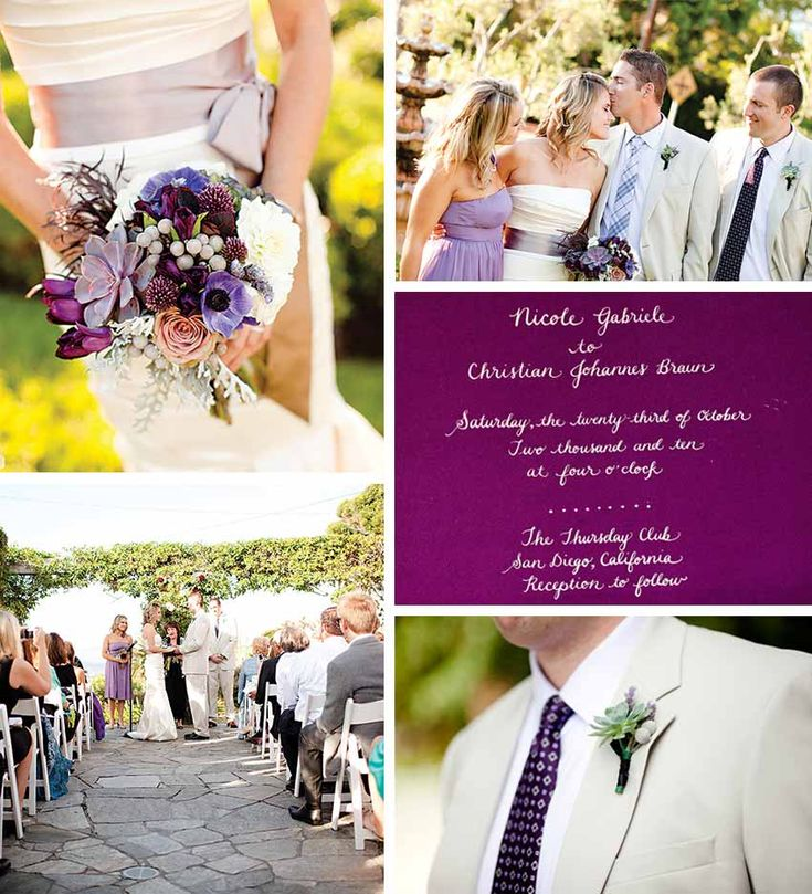 Lavender, white and taupe wedding inspiration board.