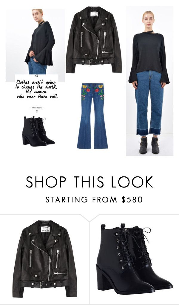 """Choker Wide Cuff Black Blouse"" by bosroom on Polyvore featuring Acne Studios, Zimmermann and Gucci"