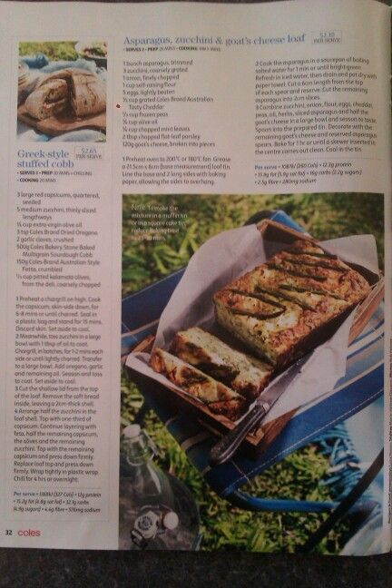 Asparagus, zucchini and goat's cheese loaf