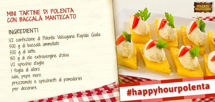 Un aperitivo ricercato e sfizioso? Ti accontentiamo subito: prova anche tu le tartine di #polenta con #baccalà! #happyhourpolenta