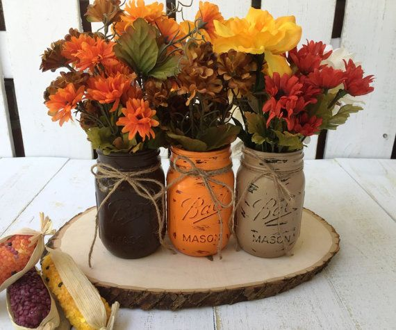Pint Mason Jars,Fall Decor,Thanksgiving,Painted Mason Jars,Rustic Wedding Centerpieces,Baby Shower Decoration,Flower Vases,Rustic Home Decor