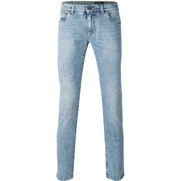 Dolce & Gabbana Denim Slim-fit Jenas ($375) ❤ liked on Polyvore featuring men's fashion, men's clothing, men's jeans, mens acid wash jeans, mens slim jeans, mens denim jeans, mens slim fit jeans and mens slim cut jeans