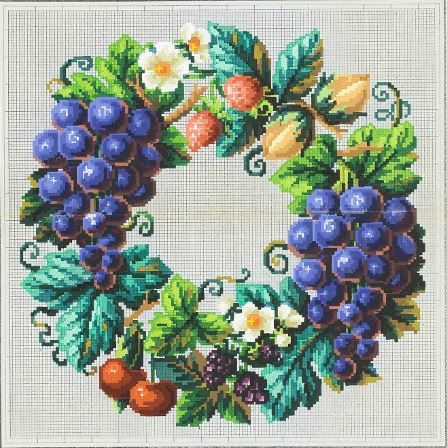 An Unusual Berlin WoolWork Fruit Wreath Pattern ~ Published In Journal des Dames & des Demoiselles