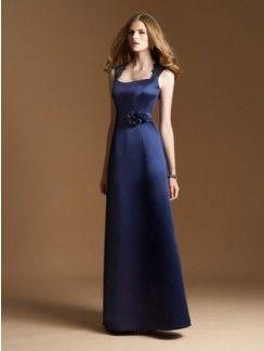 A-line Square Hand-Made Flower Sleeveless Floor-length Satin Bridesmaid Dresses
