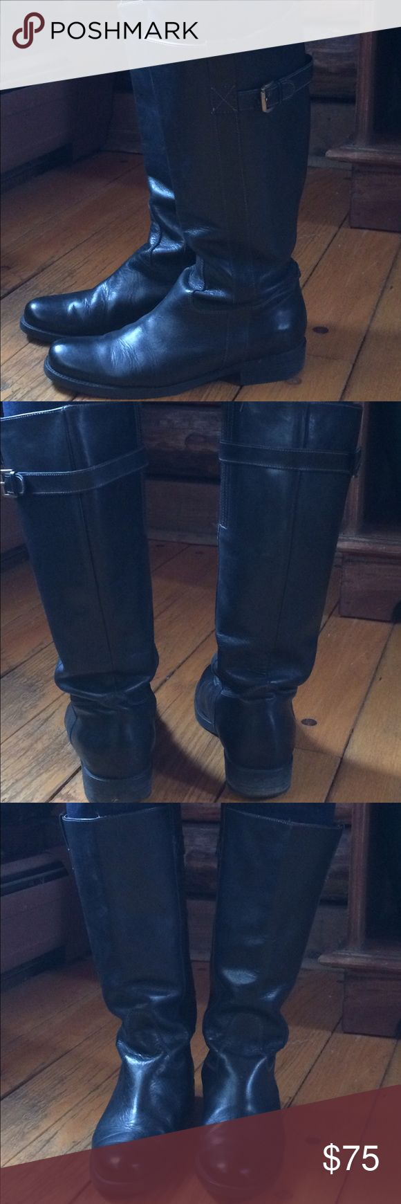 J.Crew expanded calf leather boots size 9 EUC black leather boots. Very cute. J. Crew Shoes