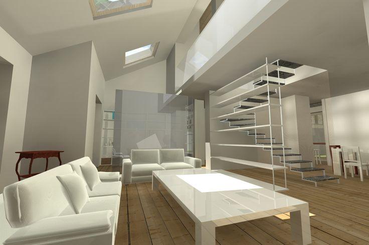 #Interiordesign #Rendering soggiorno doppia altezza con scala a vista