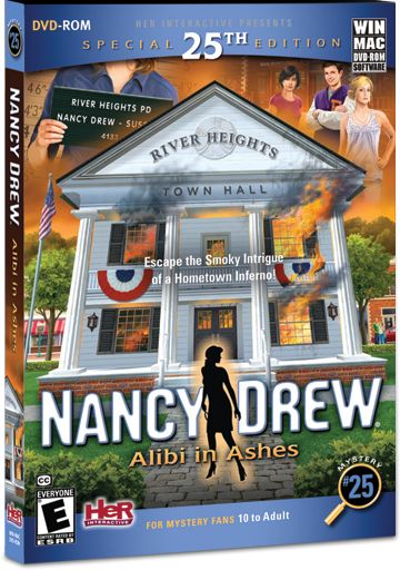 Nancy Drew: Alibi in Ashes computer game. Escape the Smoky Intrigue of a Hometown Inferno! http://www.herinteractive.com/Mystery_Games/Nancy_Drew/Alibi_in_Ashes/pc