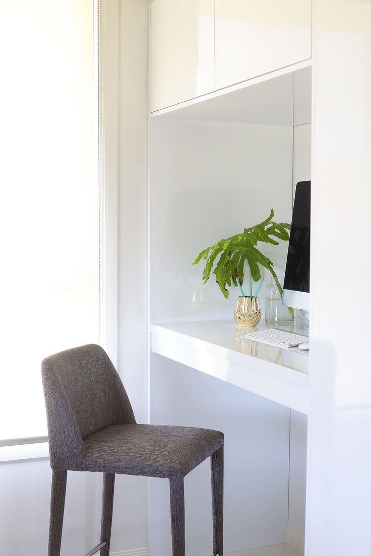 Custom Build Cabinetry by Kim Black Design Interior Design Brisbane Australia. Alcove Desk with hidden storage for Ironing board.