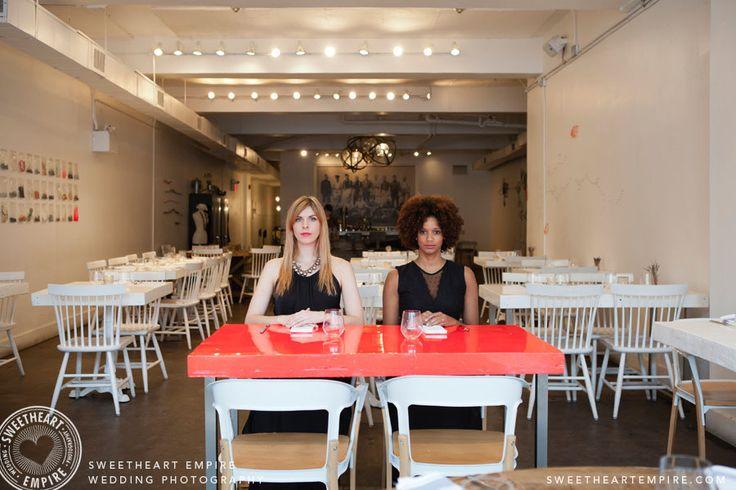 Urban Gothic engagement. L'Ouvrier Kitchen Bar. Toronto Engagement photos, same-sex wedding, restaurant engagement session. #sweetheartempirephotography