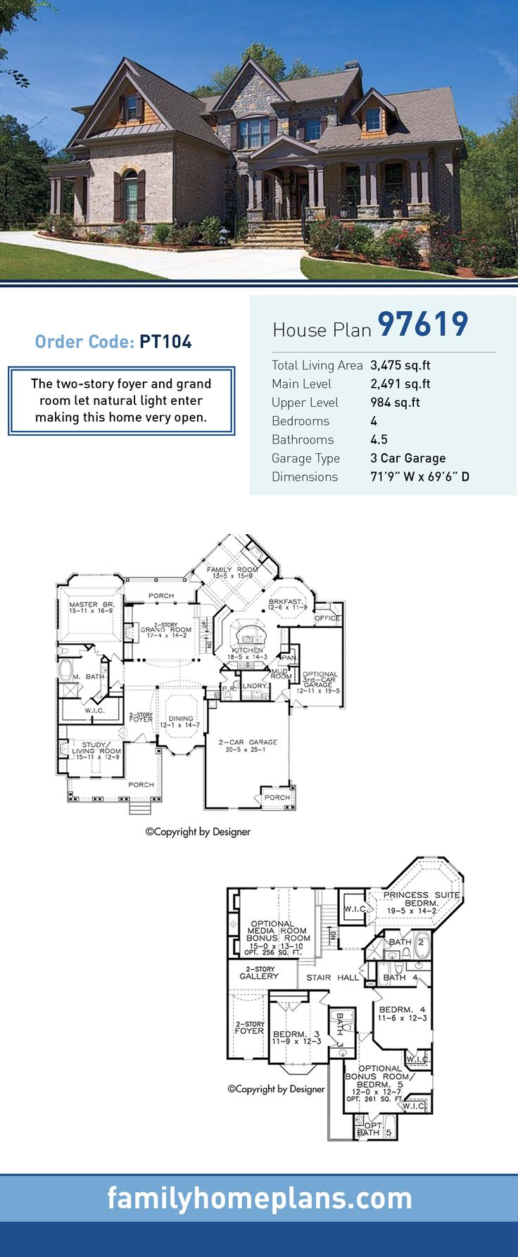 European house plan 97619 total living area 3 475 sq ft for European house floor plans