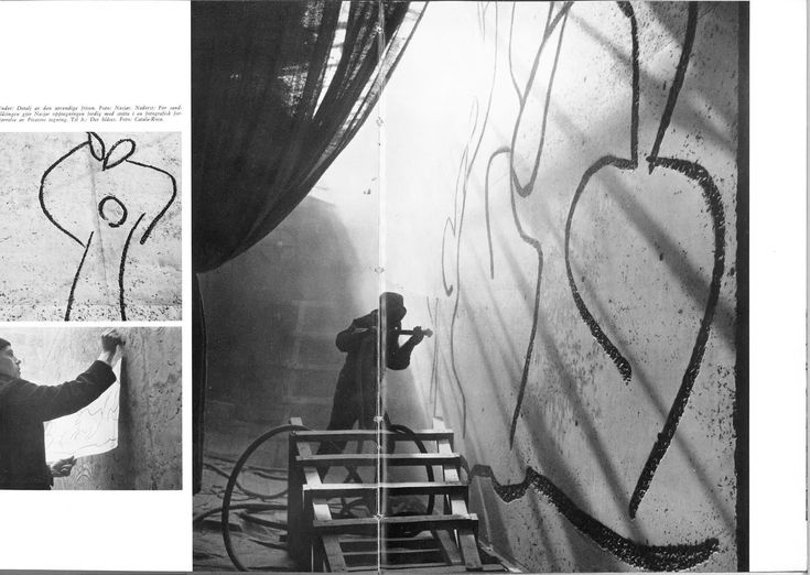 Image 6 of 12 from gallery of Professionals Roar in Norway: Unique Architecture Under Threat from Government. Sculptor Carl Nesjar sandblasting a wall at Colegio de Arquitectos in Barcelona. Scan from Byggekunst (now Arkitektur N). 1962