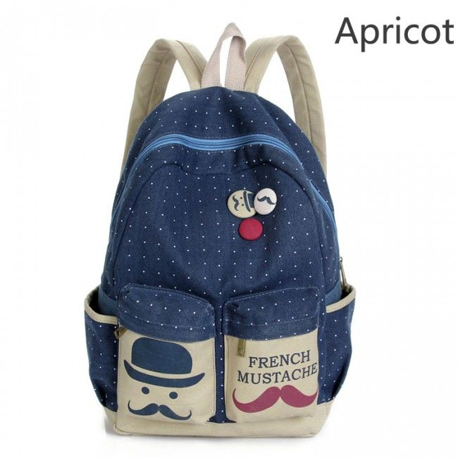 Fresh French Mustache Polka Dot Canvas Backpack for only $24.99 ,cheap Fashion Backpacks - Fashion Bags online shopping,Fresh French Mustache Polka Dot Canvas Backpack is very cute and useful. It is a perfect school bag or travelling backpack.