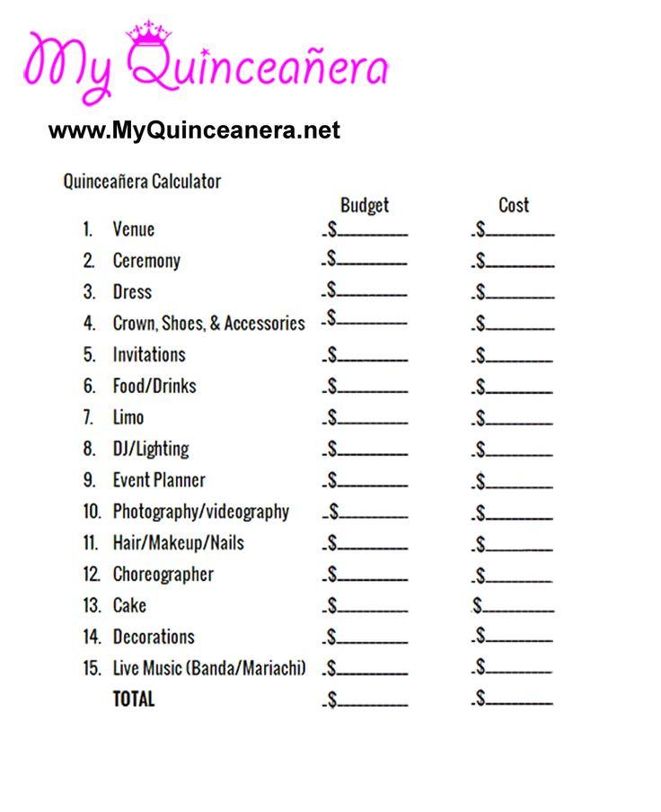 Quinceañera Budget Calculator