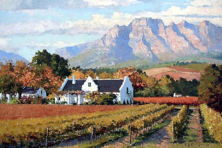 paintings by Roelof Roussouw   Cape Dutch wine farm