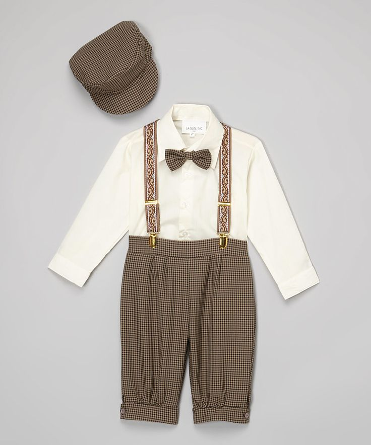Take a look at this LA Sun Brown Houndstooth Four-Piece Button-Up Set - Infant & Toddler today!