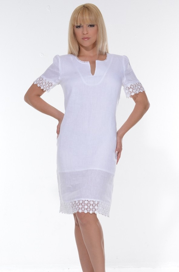 Linen dress Short Sleeve (LLD1300) - Linen dress Short Sleeve. Delicate wash. Hand wash. Dry Clean for best result Available in White. Size Chart available