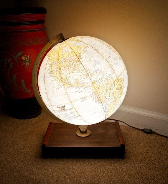 Vintage World Globe lamp...light up Replogle World Globe...12 inches in diameter...Mid century modern...wood base...