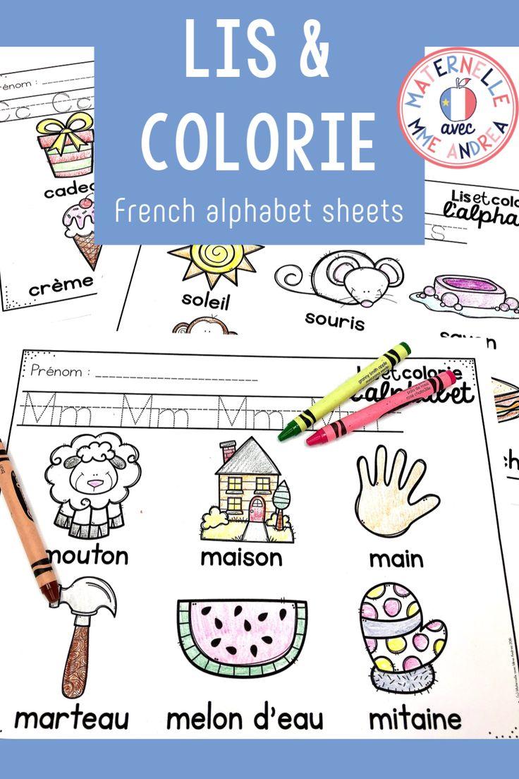 FRENCH Alphabet Read and Colour lis et colorie l