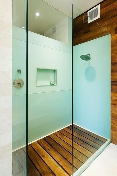 I want this shower! Love the look of a wooden shower base.