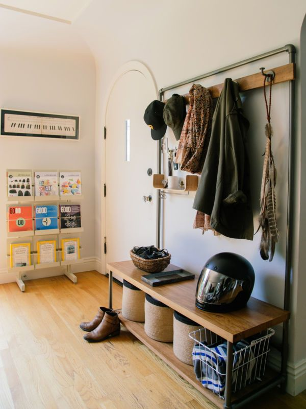 Brilliant DIY Ideas Using Industrial Pipes - a great way to add more storage and organization to small spaces.
