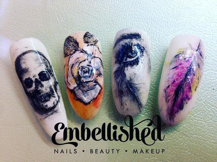#embellishednails #embellished #handpainted #handpaintednailsart #nailsmag…