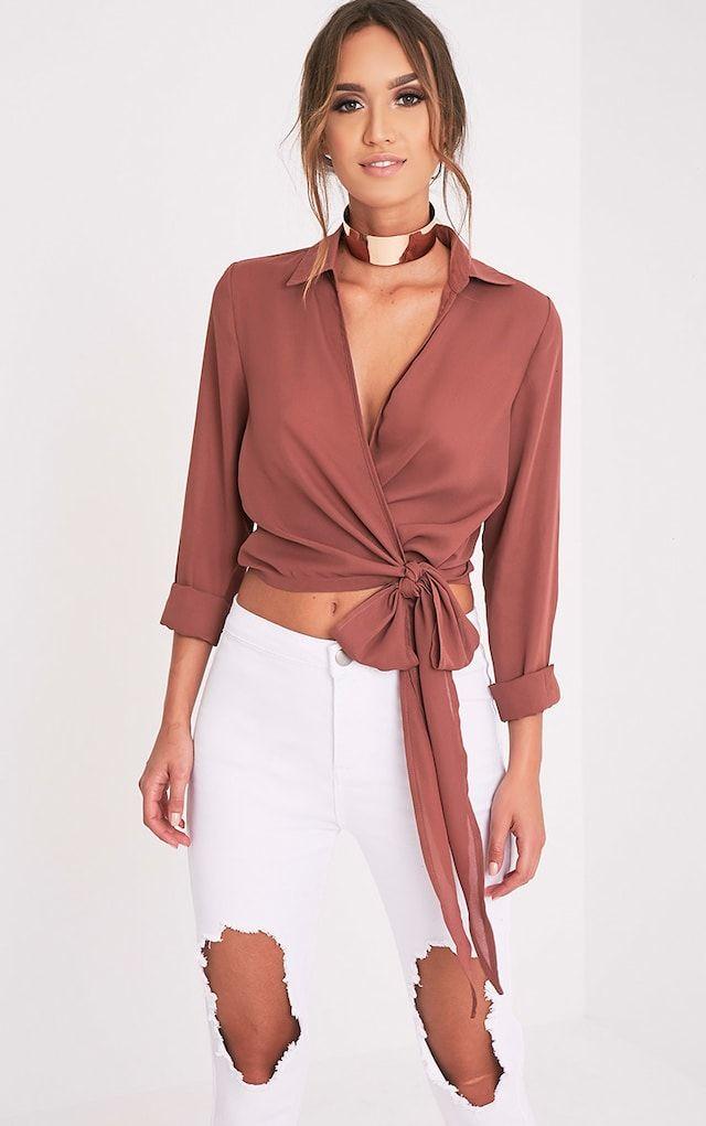 Avalyn Dark Rose Wrap Front Tie Side Blouse