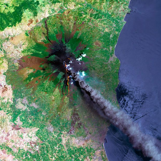 A SPOT satellite image shows a smoke plume coming from Mount Etna | Italian island | Etna is Europe's largest and most active volcano.