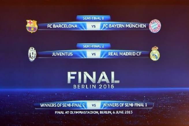 TORINO - Ecco il calendario dei sorteggi della semifinale dei Champions League:Juventus-Real Madrid e Barcellona-Bayern. La Juventus di Allegri incontrerà il Real