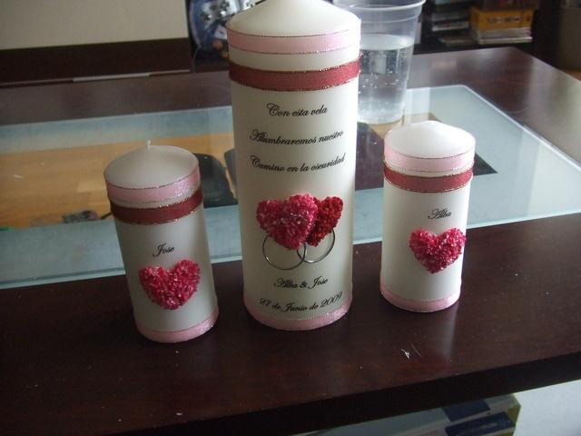 velas decoradas para la ceremonia de la vela