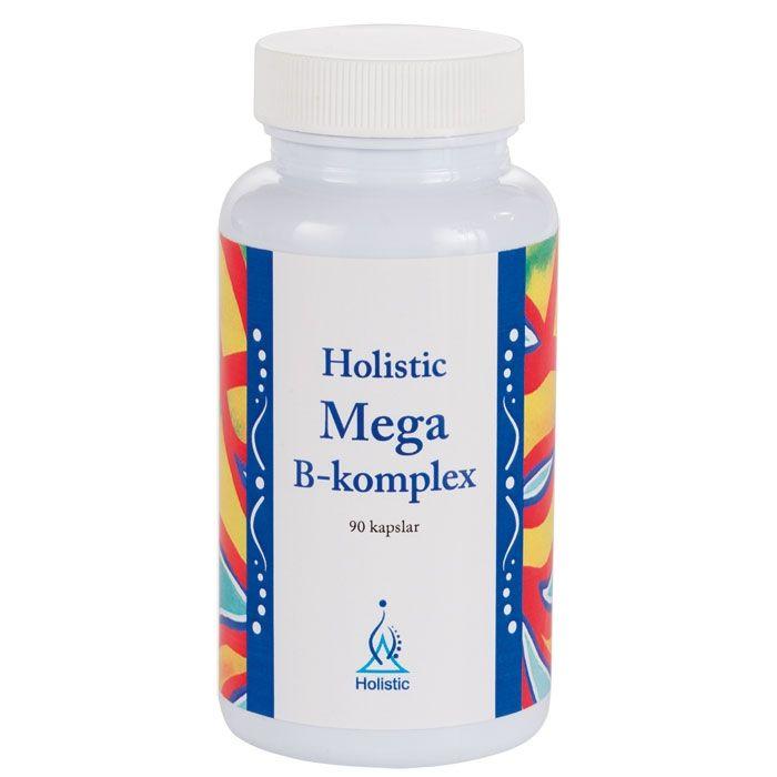 Holistic Mega B-komplex. B6, B12 och folsyra bidrar bl.a. till att minska trötthet och utmattning. Biotin bidrar till att bibehålla normalt hår och normala slemhinnor. OBS!!! B12 (metylkobalamin)