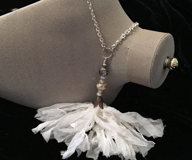 WHITE CHIFFON Tassel Necklace ~ Handmade sari silk tassel ~ Beaded Connector ~ Chic and Classy Long Necklace ~ Gift for Her ~ by CJsJewelryWorks on Etsy