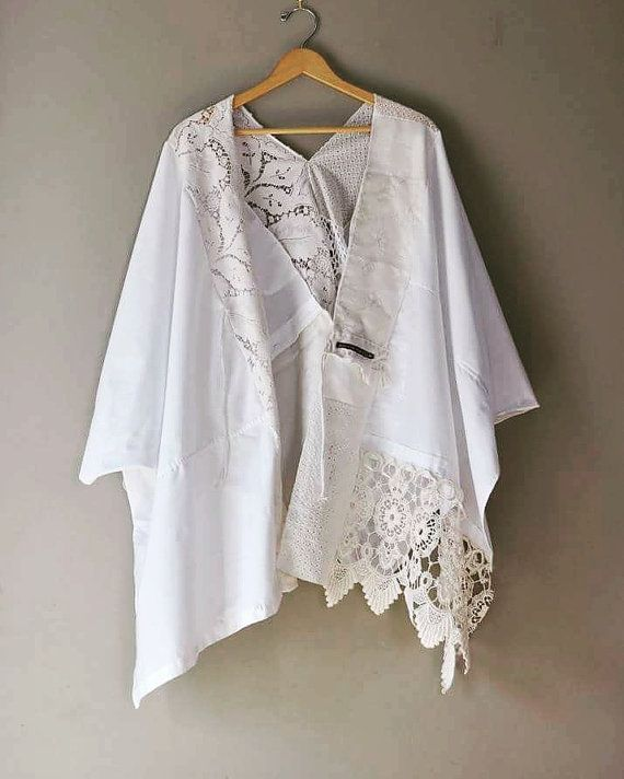 Custom Kimono Wrap in Textured White/Heirloom Kimono Wrap made from Upcycled Textiles and Materials of Sentiment