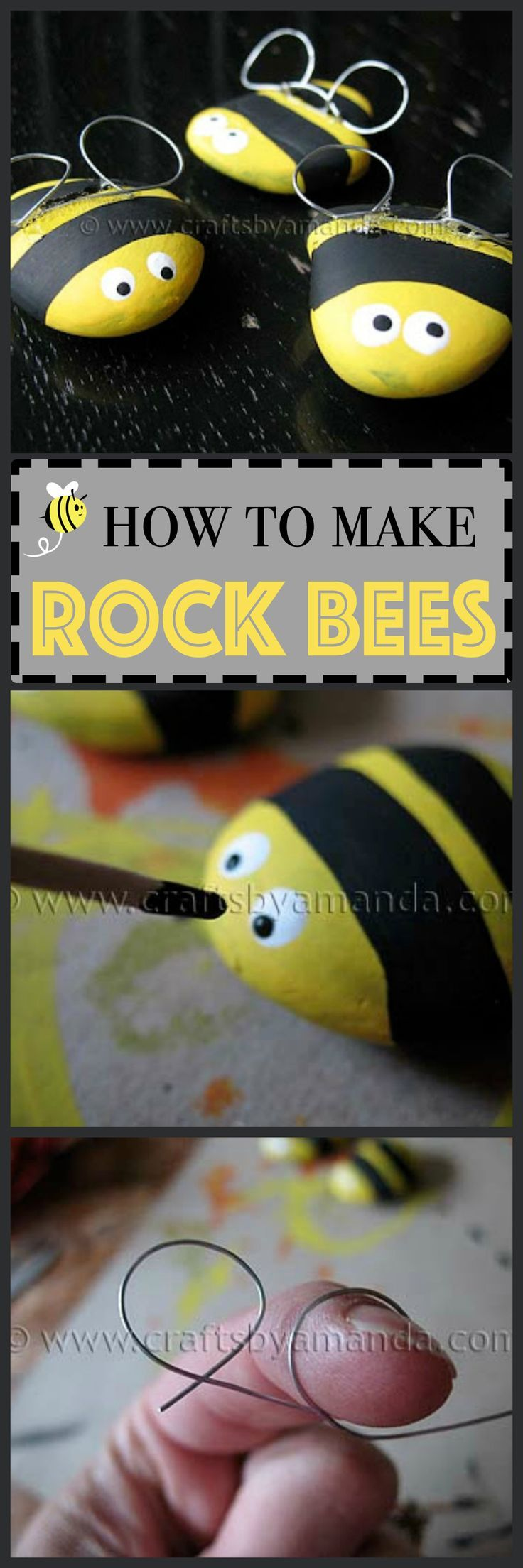 Make adorable rock bees to display around the house or to put in your garden!