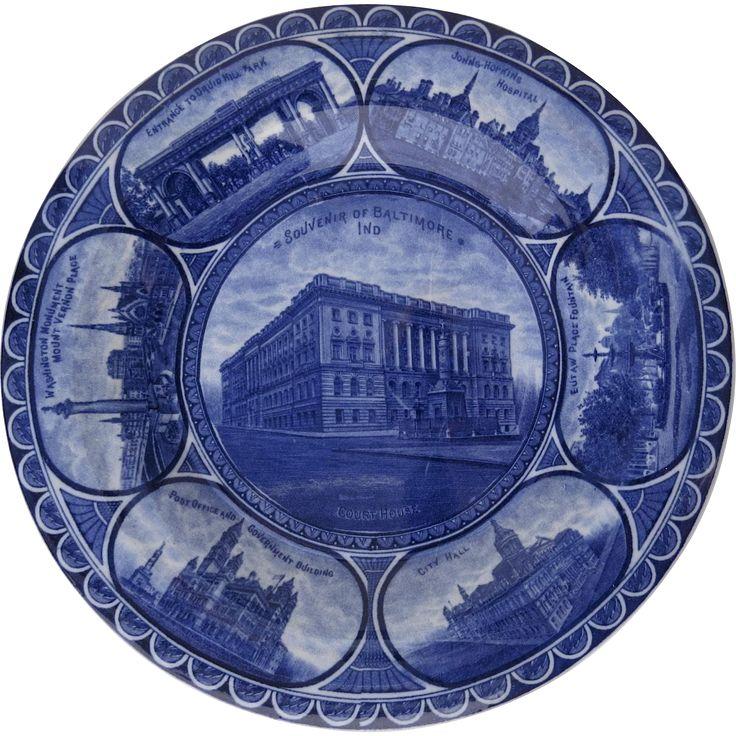 Rowland & Marsellus Rolled Edge Historic Plate Cobalt Blue and White Baltimore Indiana John Hopkins Hospital Druid Hill Washington Monument Mount Vernon - found at www.rubylane.com @rubylanecom #MondayBlues