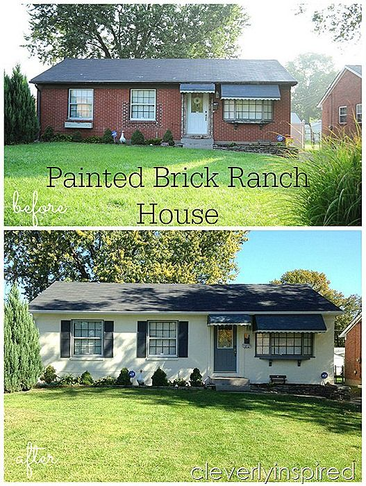painted brick ranch house @cleverlyinspired (2)