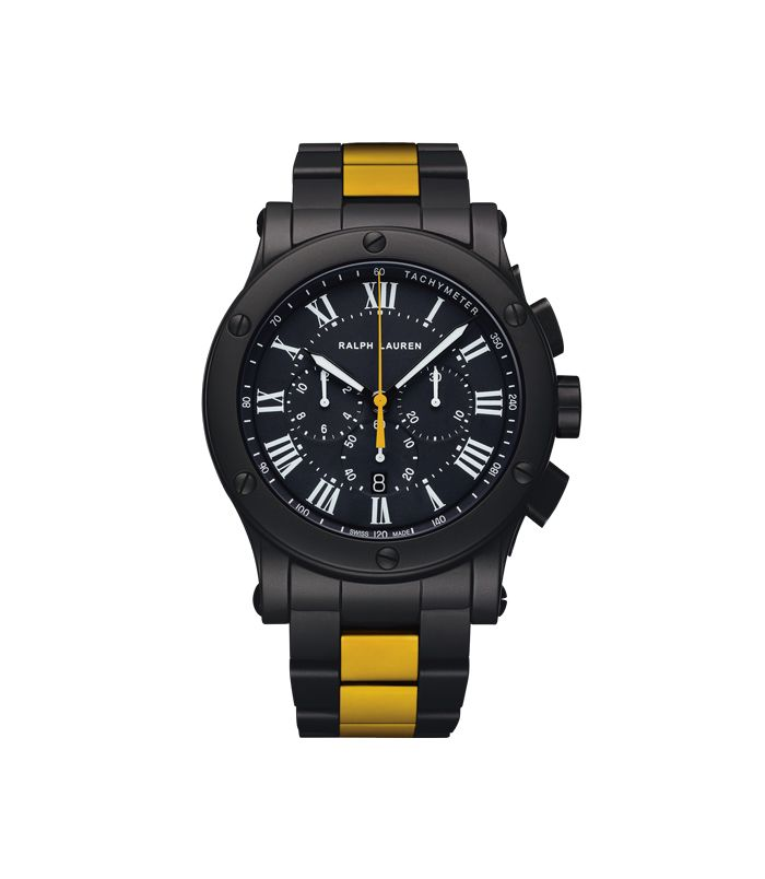 Discover the perfect sporting watch: our 45 mm Chronograph Model in Black Matte Ceramic with a yellow racing stripe