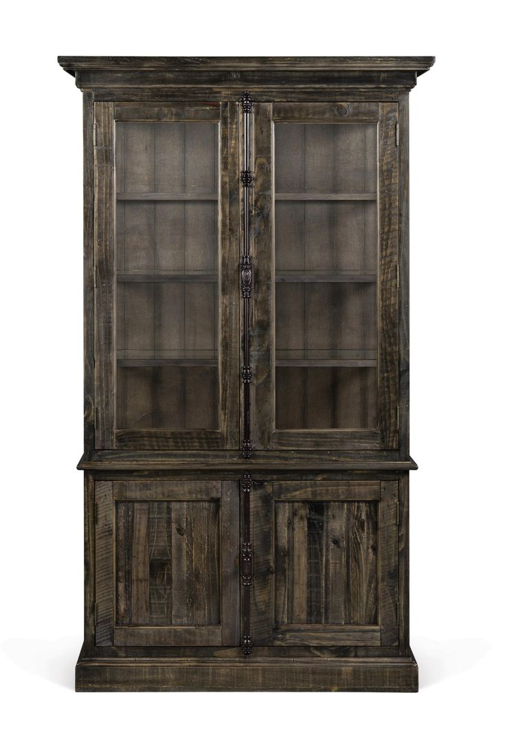 Magnussen Home Bellamy Transitional Weathered Gray China Cabinet With  Adjustable Glass Shelves And Display Lighting  . Furniture MattressDining  Room ...