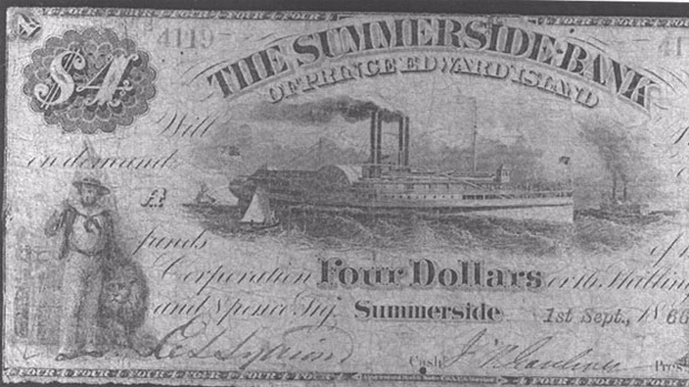 """A New Brunswick man is looking to cash in on some old currency from Prince Edward Island. Geoff Bell is from Shediac, N.B. and has taken some very old P.E.I. bank notes to the Toronto Coin Expo. The bills were issued by the Summerside Bank in the 1800's. """"Any Summerside notes are difficult to find, but to find two unique ones and then two of such great condition."""" Bell says the starting bid for the rare $4 bank note is $25,000."""