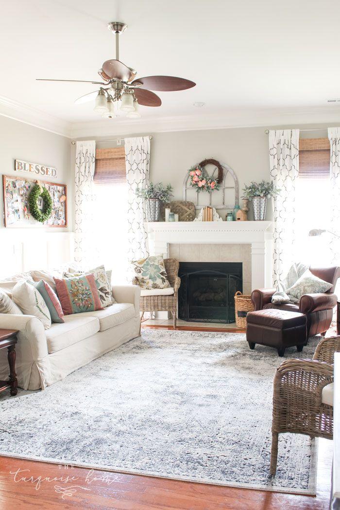 Vintage Distressed Blue Rug Changing Your Mind Farmhouse Style Living Room Decor Vintage Living Room Living Room Colors