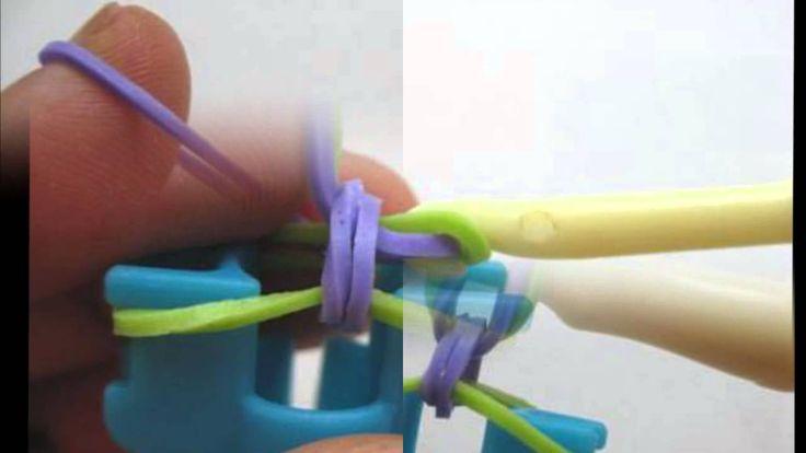 tutorial como fazer pulseira de elastico fishtail rainbow com mini loom #Pulseiras de #Elasticos #rainbowLoom