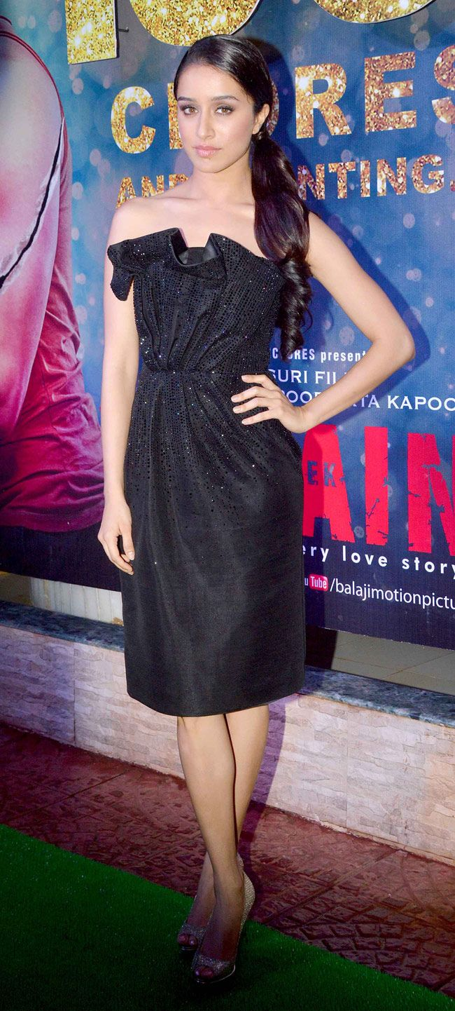 Shraddha Kapoor looked radiant in a black Georgio Armani number and sparkly Jimmy Choos at the success bash of 'Ek Villain'
