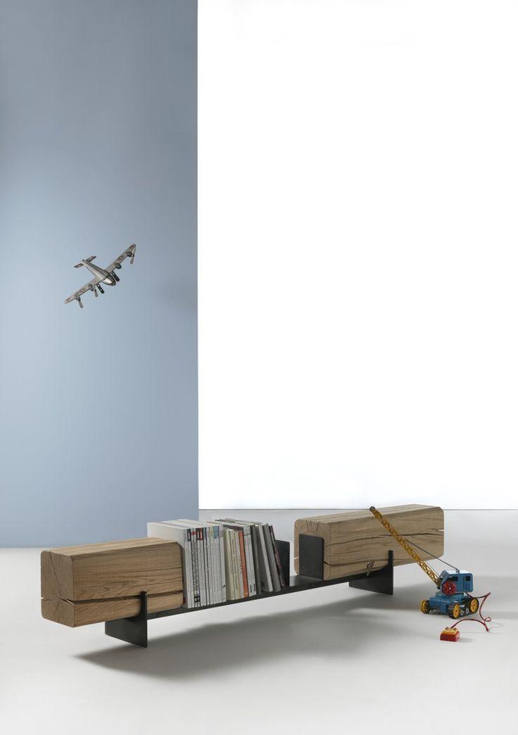 b2b - Bench / Book and Magazine Rack - Vernicemogano for Durame