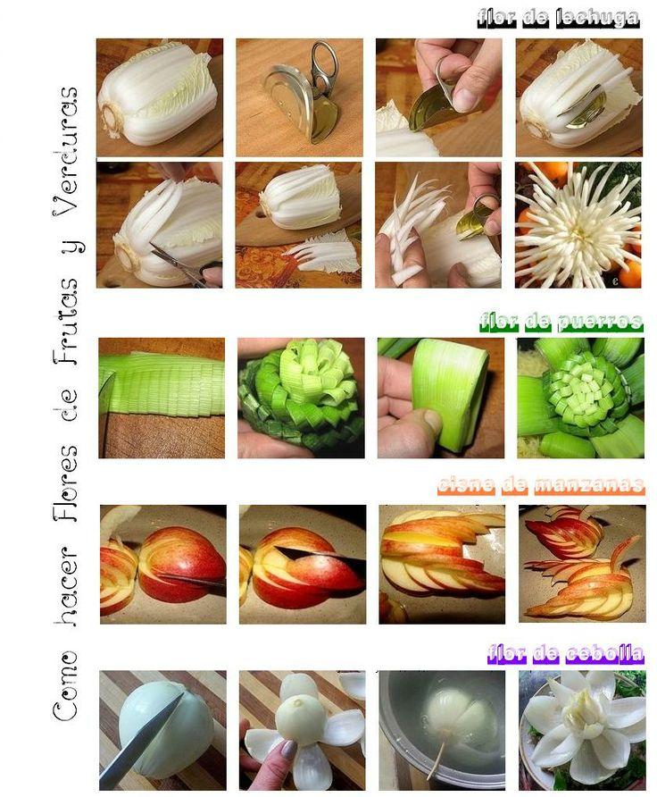 Enrhedando como hacer flores de frutas y verduras paso a - Como hacer verduras salteadas ...