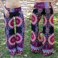 Wish   Women's Fashion red Floral Print Loose Casual Pants Harem Loose High Waist Trousers Straight trousers Wide Leg Long Pants Ethnic style pants