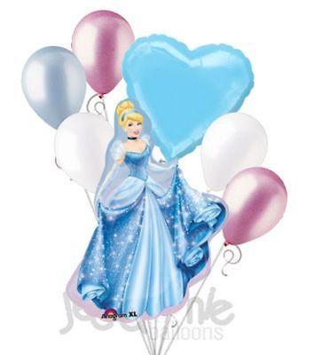 7 pc Cinderella Sparkles Disney Princess Balloon Bouquet Happy Birthday Gown