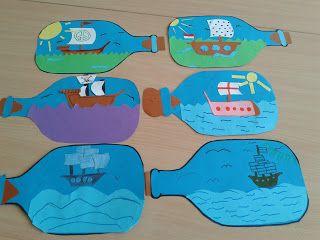 Création de bouteilles avec bateaux pirates (peinture + collage). Chaque enfant peut mettre son bateau en bouteille !