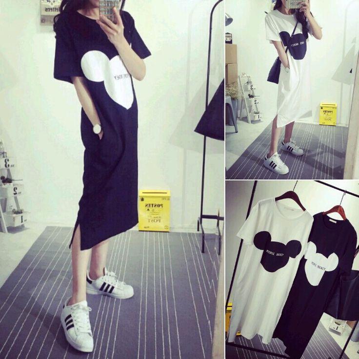 2015 new summer dress Korean cartoon Mickey stamp split long dress half sleeve dress