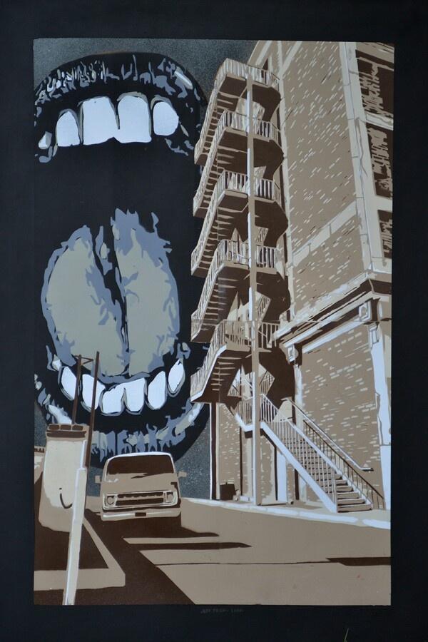 Stencil teeth art