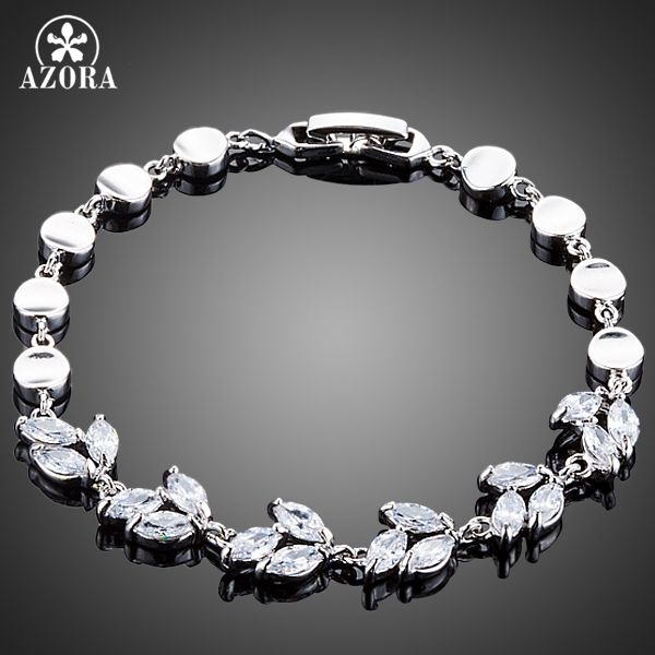 Elegant Water Drop Design Marquise Cut Clear Cubic Ziconia Bracelet for Women TS0131