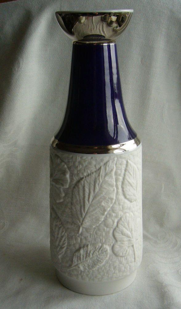 Schumann Arzberg Porzellan Vase, Echt Cobalt, weißes Bisquit-Relief # 1090/28